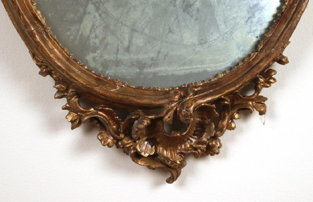 OVAL FRENCH GILT-CARVED WALL MIRROR - 2