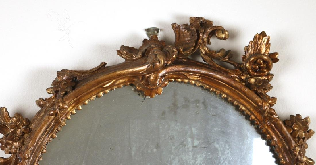 OVAL FRENCH GILT-CARVED WALL MIRROR - 3