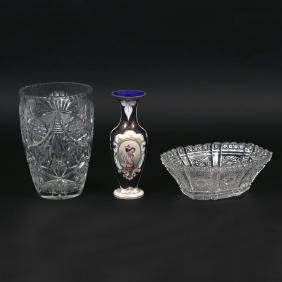 (3pc) MISC. CUT GLASS