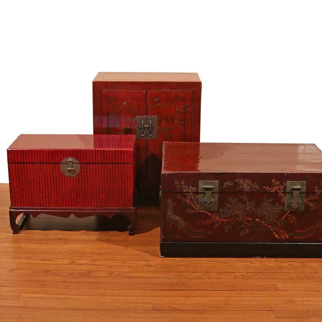 (3pc) JAPANESE LACQUERED CHESTS