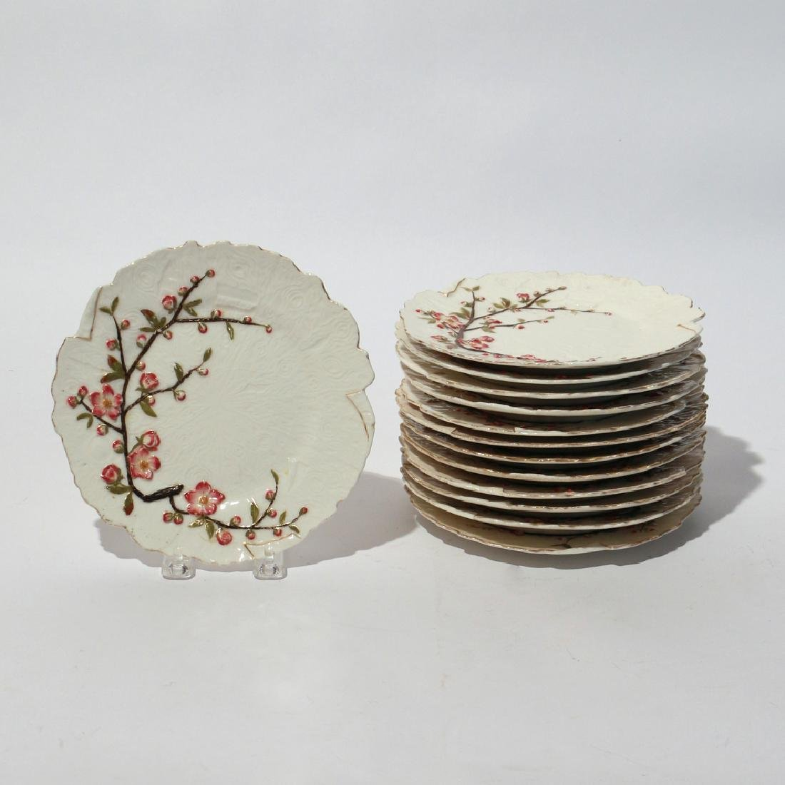 (13pc) GILT PAINTED CHERRY BLOSSOM PLATES