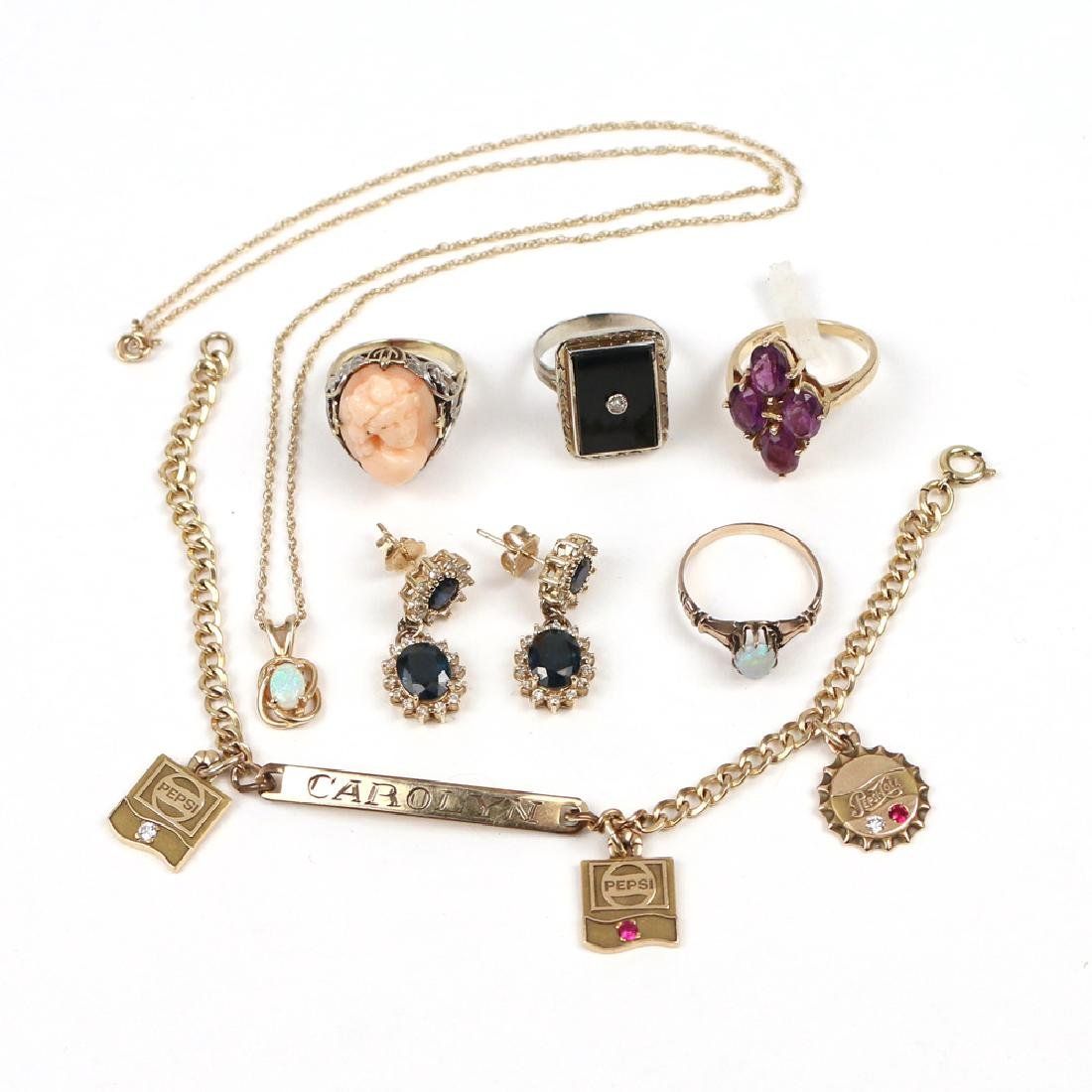 (7pc) GOLD & OTHER MISC. JEWELRY
