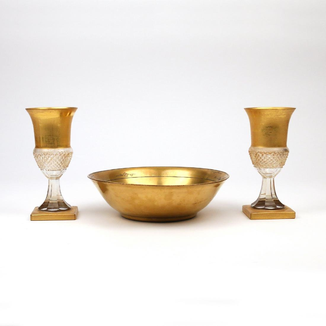 (3pc) GILT DECORATED GLASS & OTHER