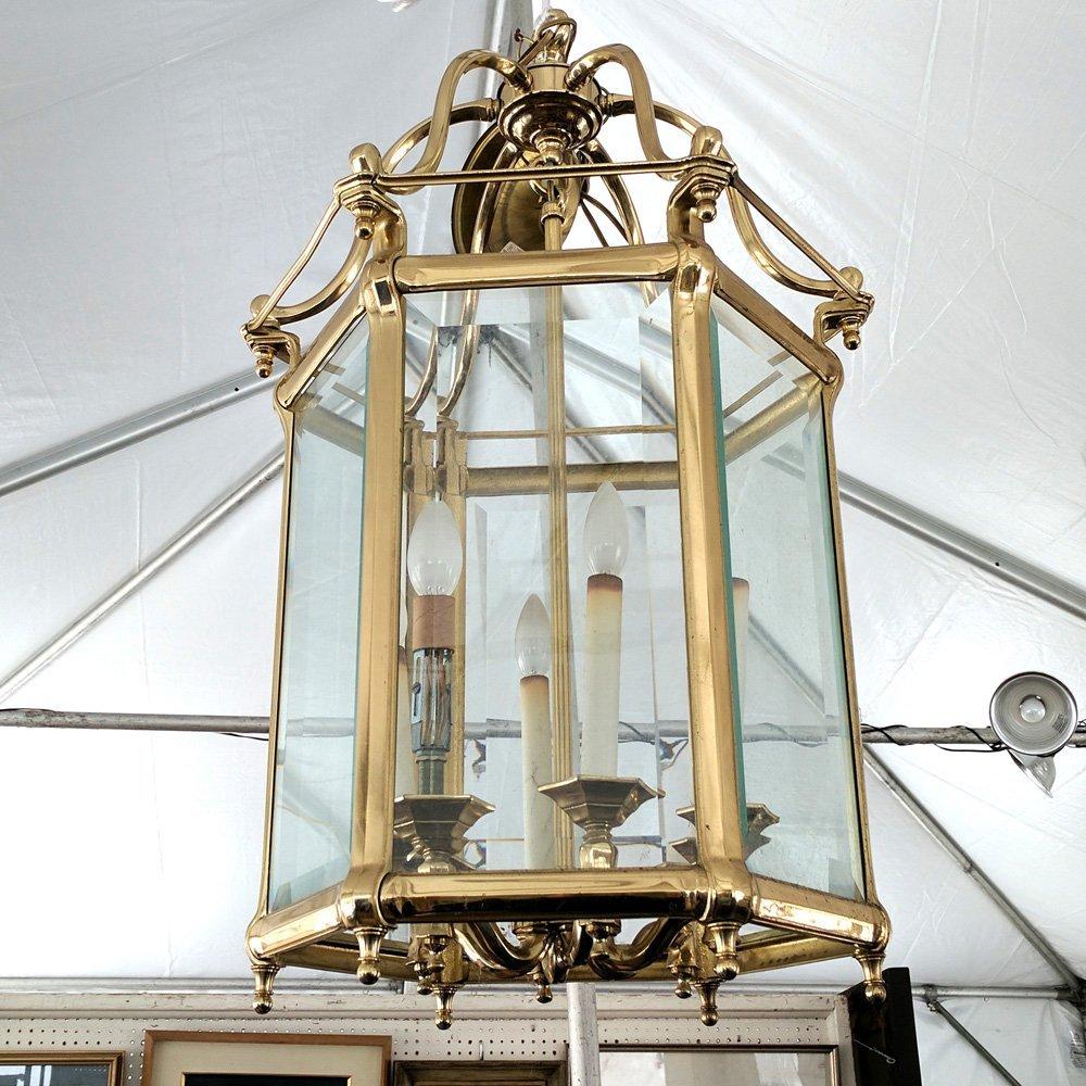 BRASS & GLASS PANELED HALL FIXTURE - 2