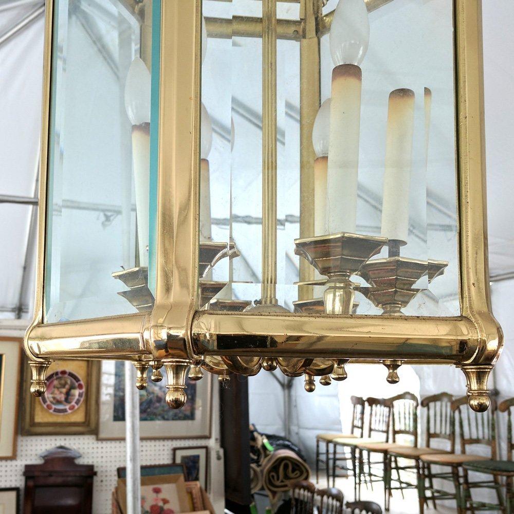 BRASS & GLASS PANELED HALL FIXTURE - 3