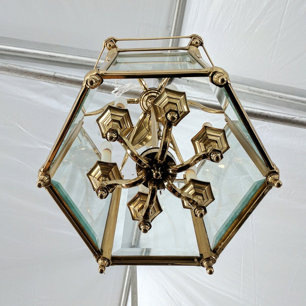 BRASS & GLASS PANELED HALL FIXTURE - 5
