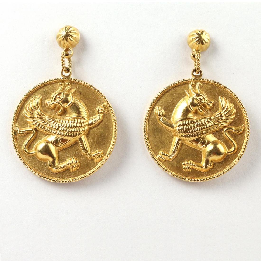 PAIR PERSIAN GOLD LAMASSU PLAQUE EARRINGS