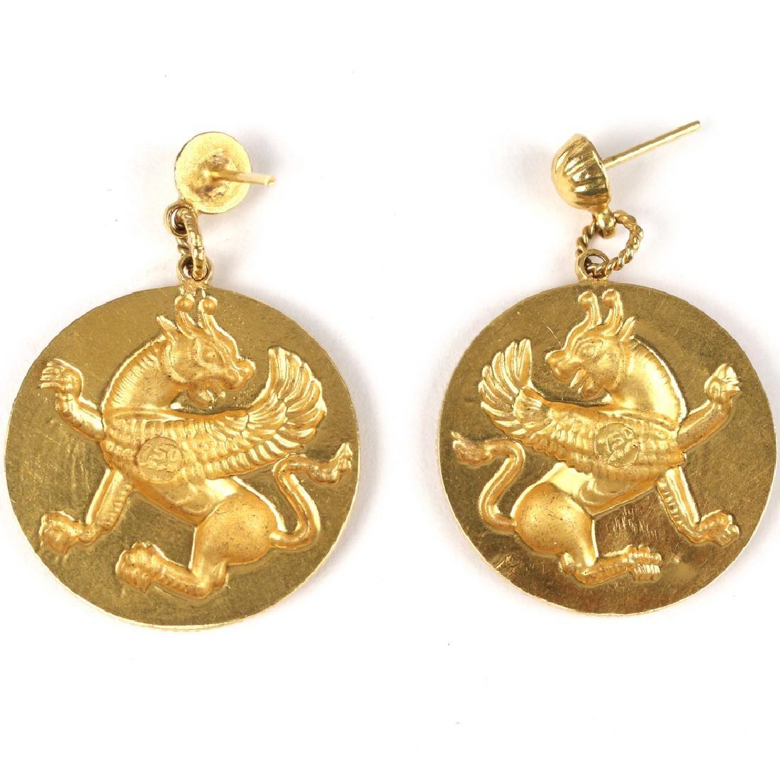 PAIR PERSIAN GOLD LAMASSU PLAQUE EARRINGS - 2