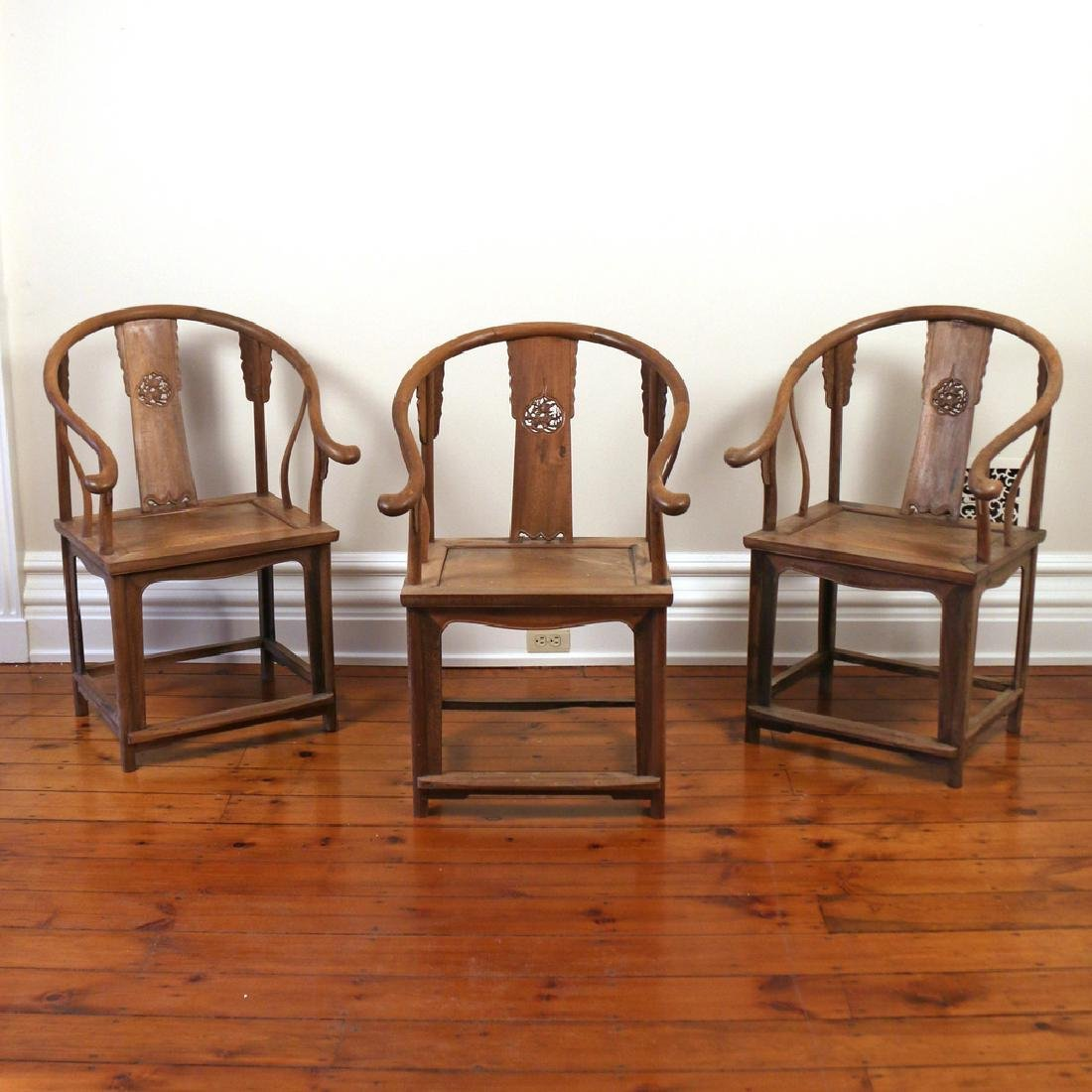 (3pc) ANTIQUE CHINESE HORSESHOE ARMCHAIRS