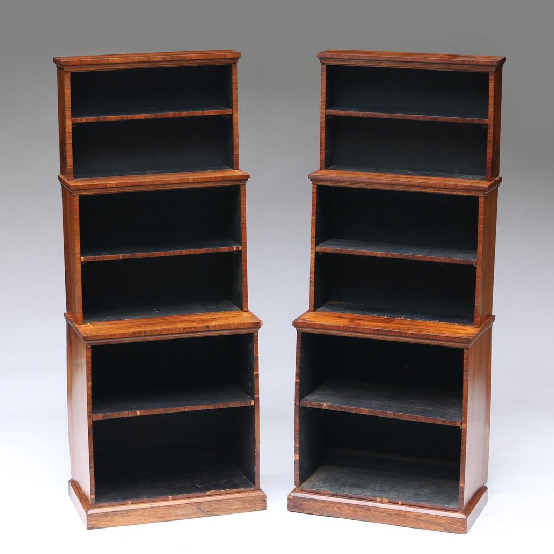 PAIR OF REGENCY ROSEWOOD TIERED BOOKCASES