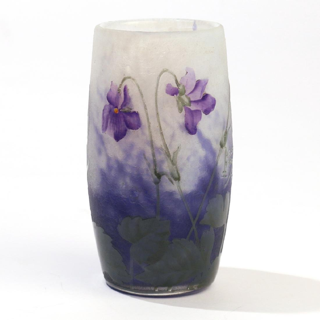 DAUM NANCY CAMEO GLASS VASE - 3