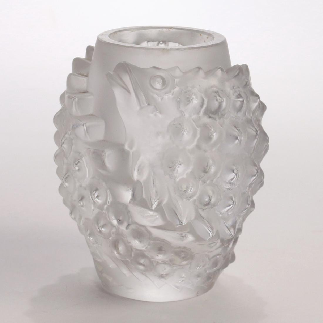 """RENE LALIQUE LES POISSONS"""" FROSTED CRYSTAL VASE"""""""