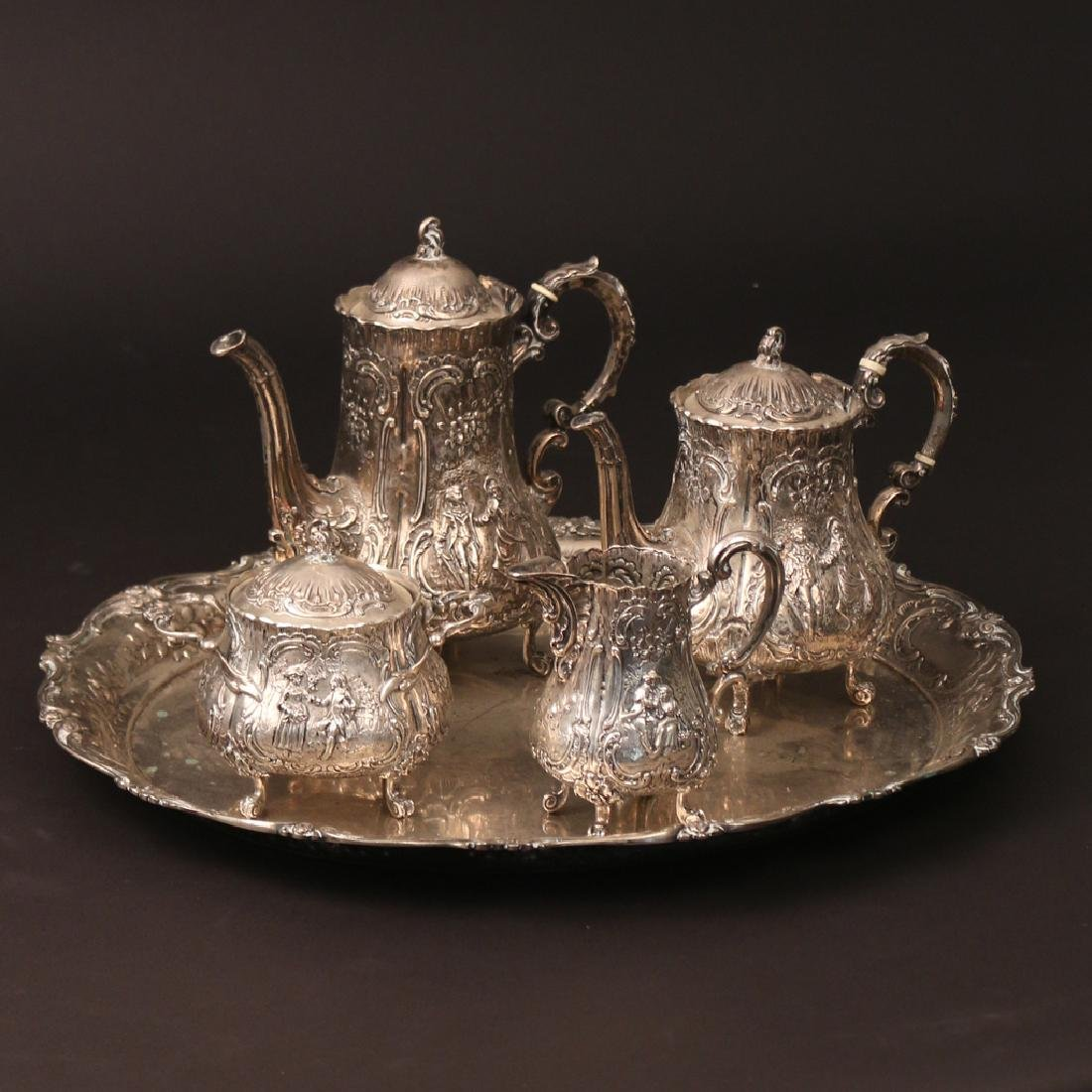 (5pc) '800' SILVER TEA & COFFEE SERVICE