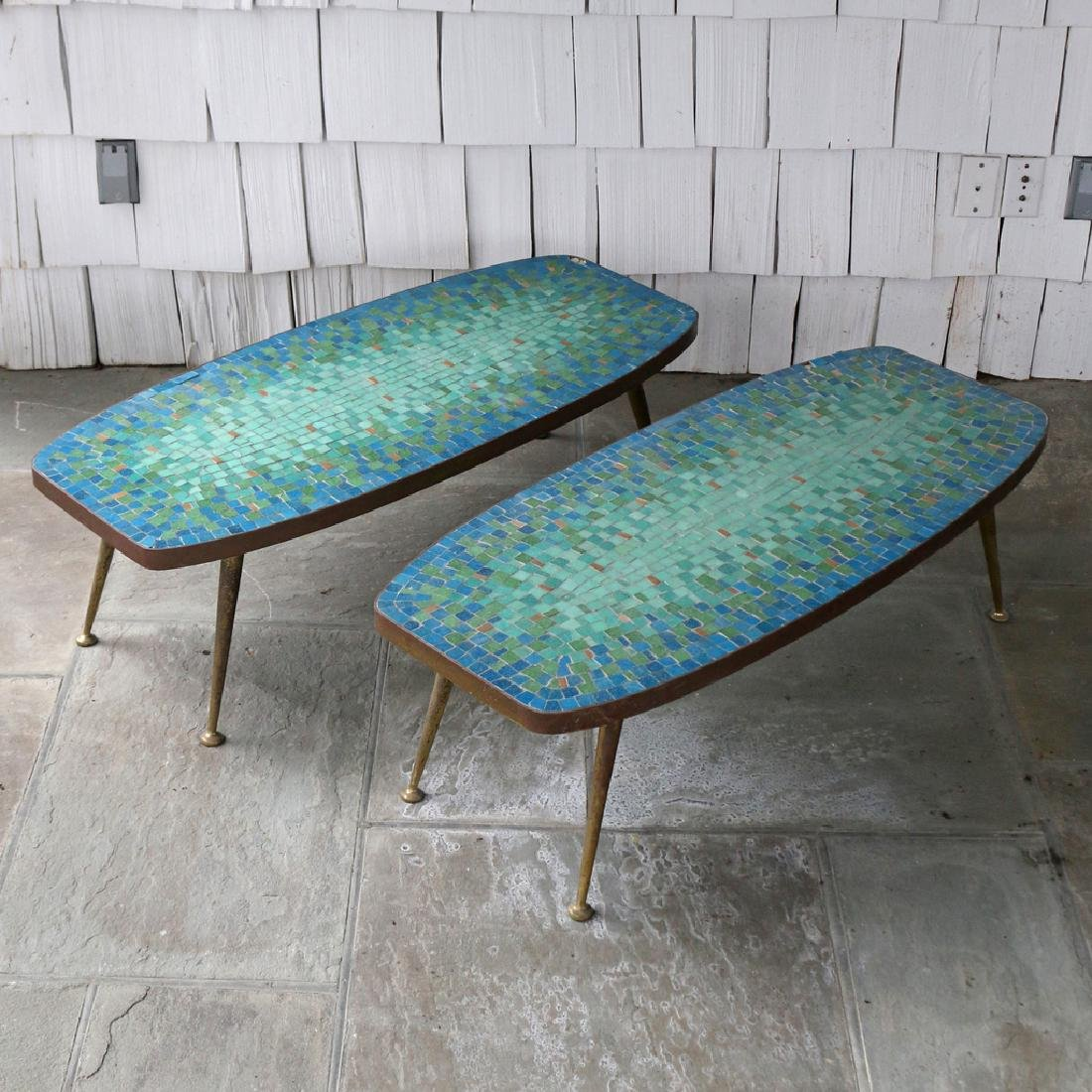 (2pc) MID-CENTURY MOSAIC COFFEE TABLES