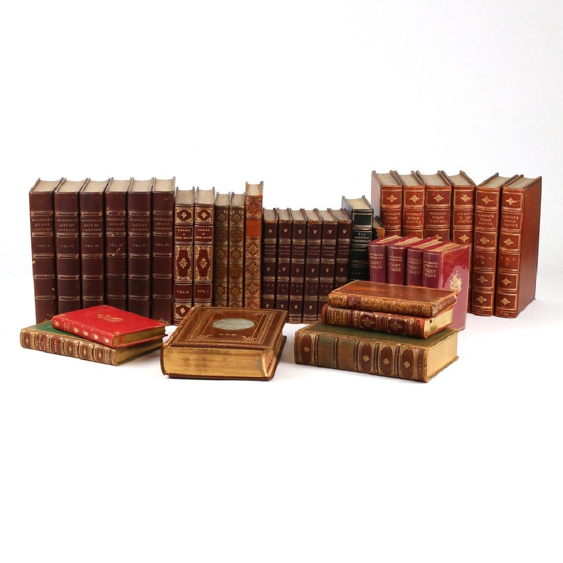 (35vol) MISC. LEATHER-BOUND BOOKS