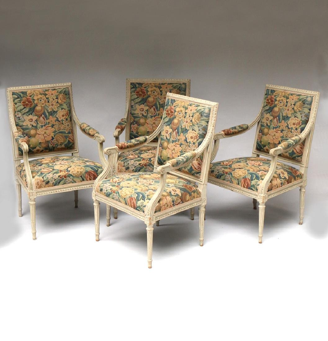 (4pc) LOUIS XVI-STYLE CARVED ARMCHAIRS - 2