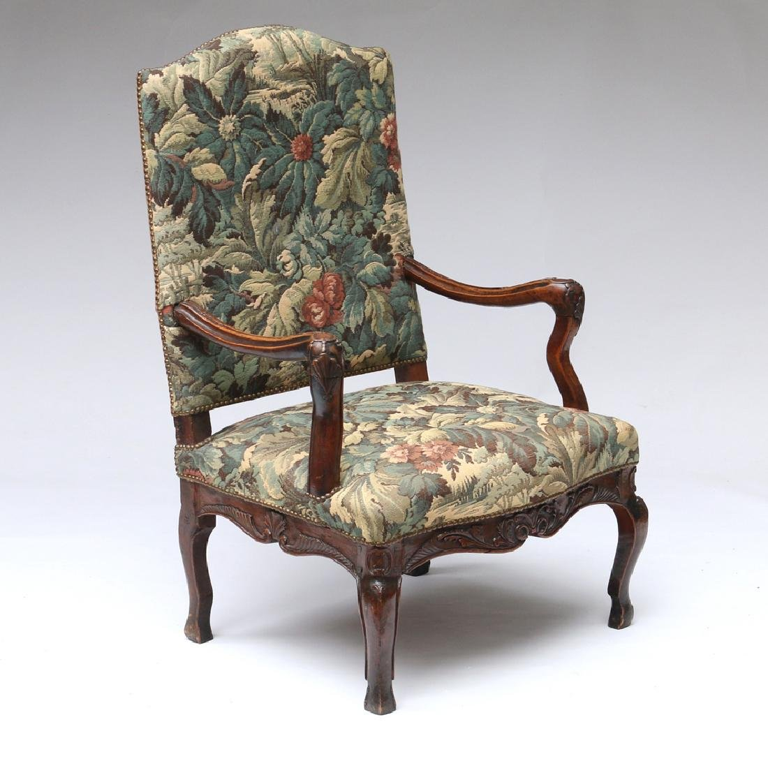 LOUIS XIII-STYLE CARVED WALNUT FAUTEUIL