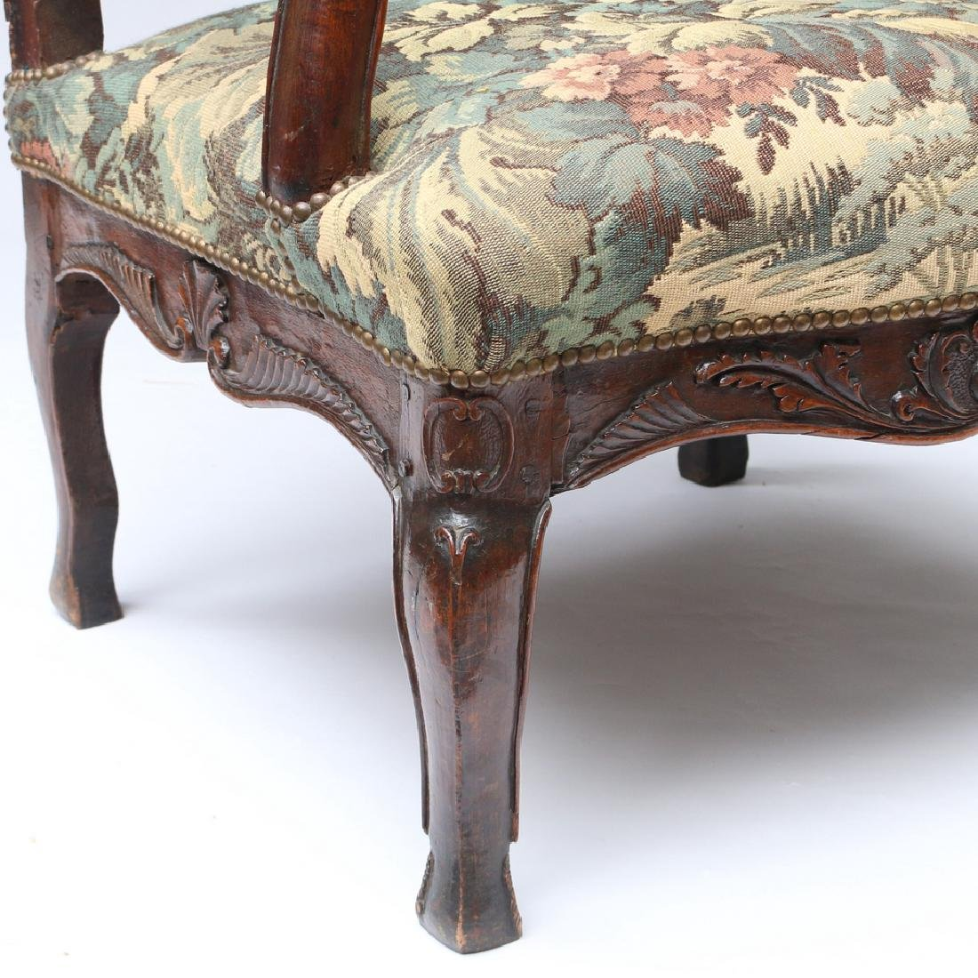 LOUIS XIII-STYLE CARVED WALNUT FAUTEUIL - 3