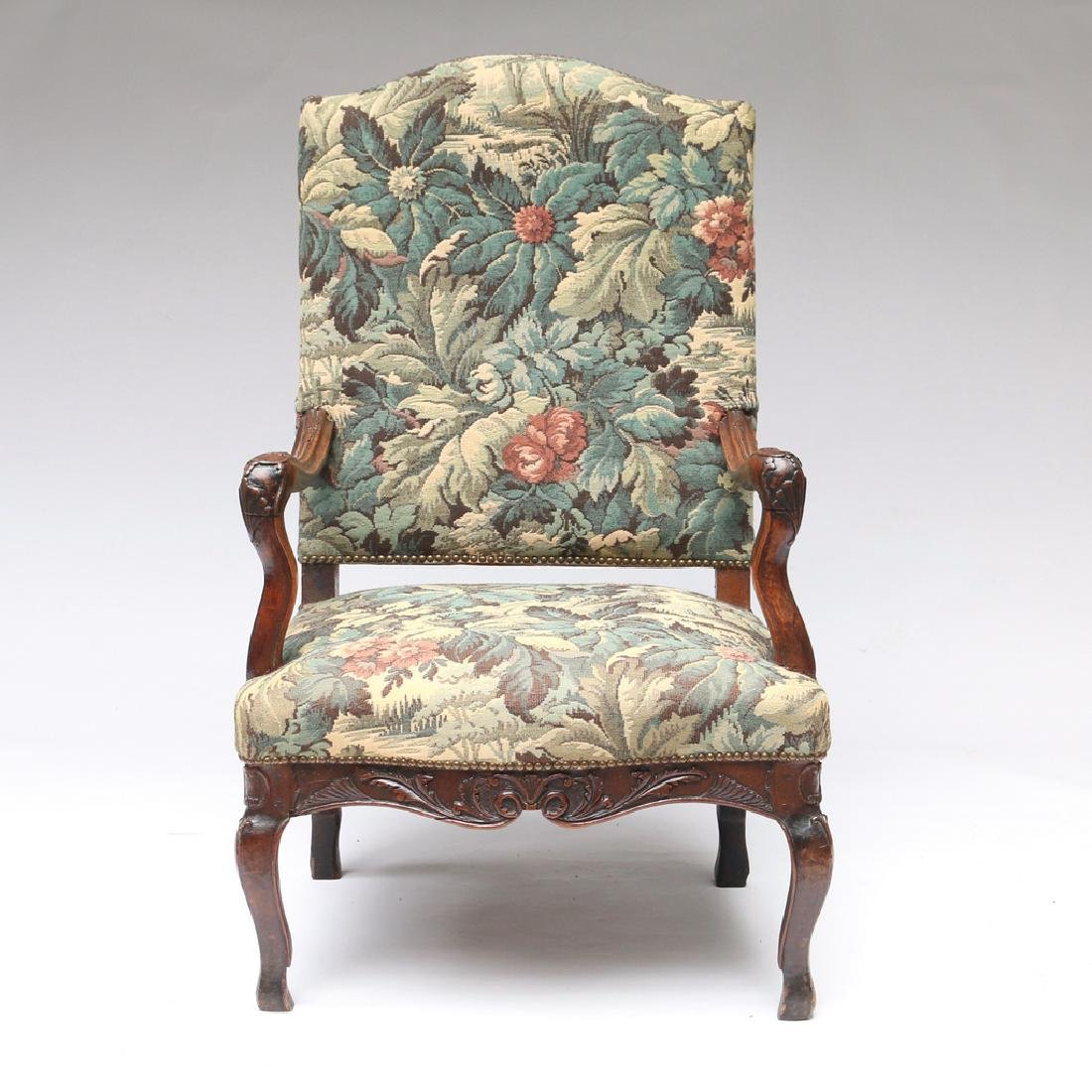 LOUIS XIII-STYLE CARVED WALNUT FAUTEUIL - 4