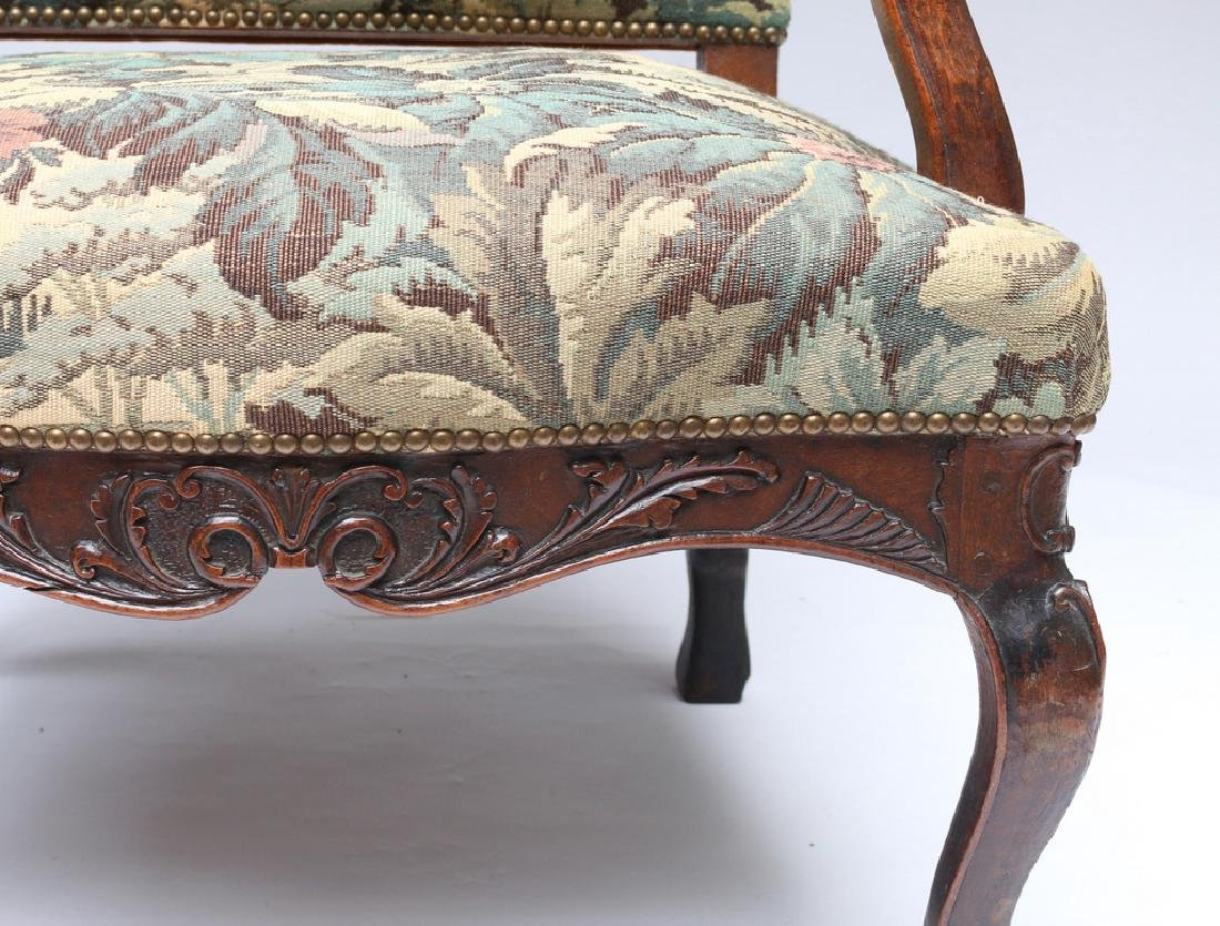 LOUIS XIII-STYLE CARVED WALNUT FAUTEUIL - 5