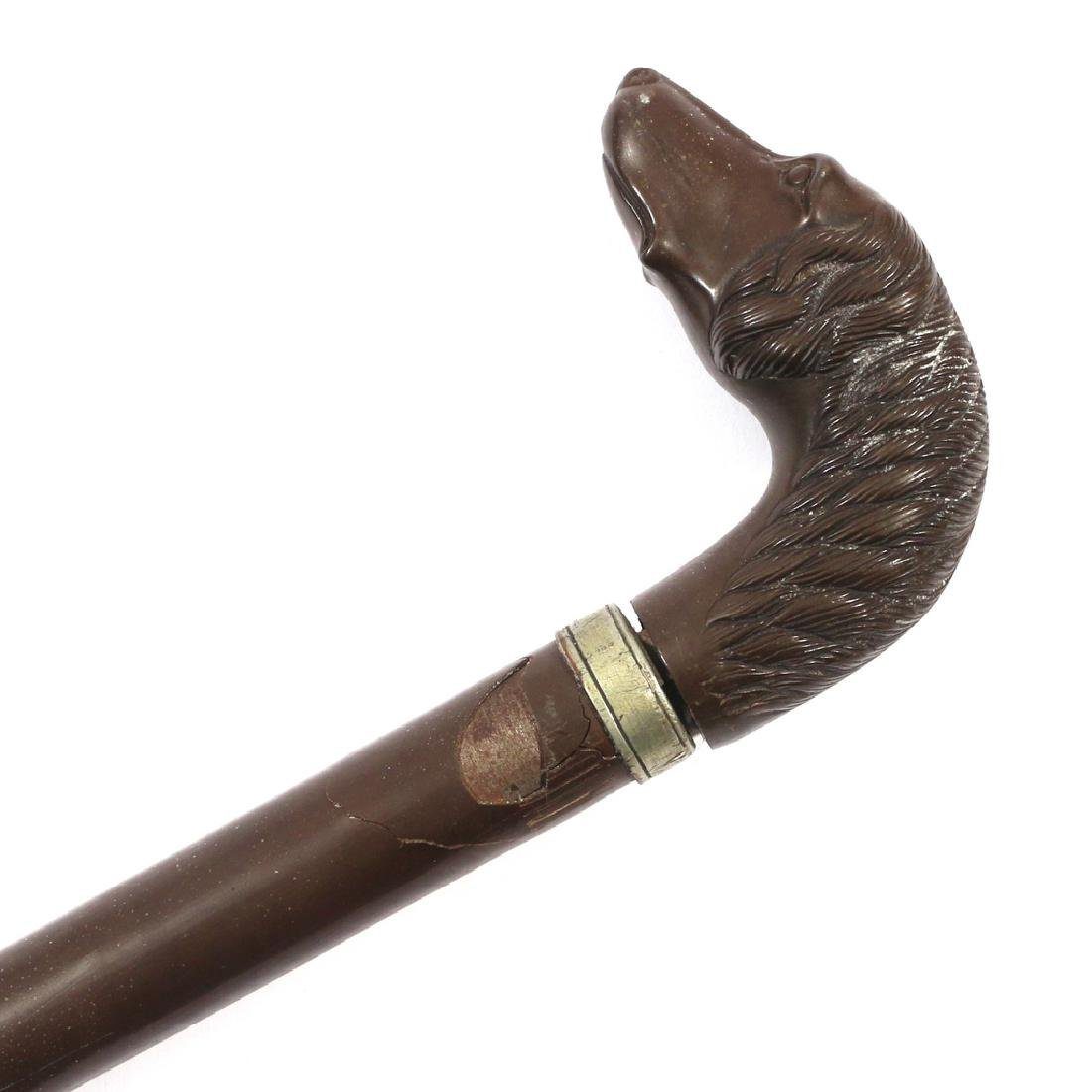 CARVED SINGLE SHOT PISTOL CANE - 2