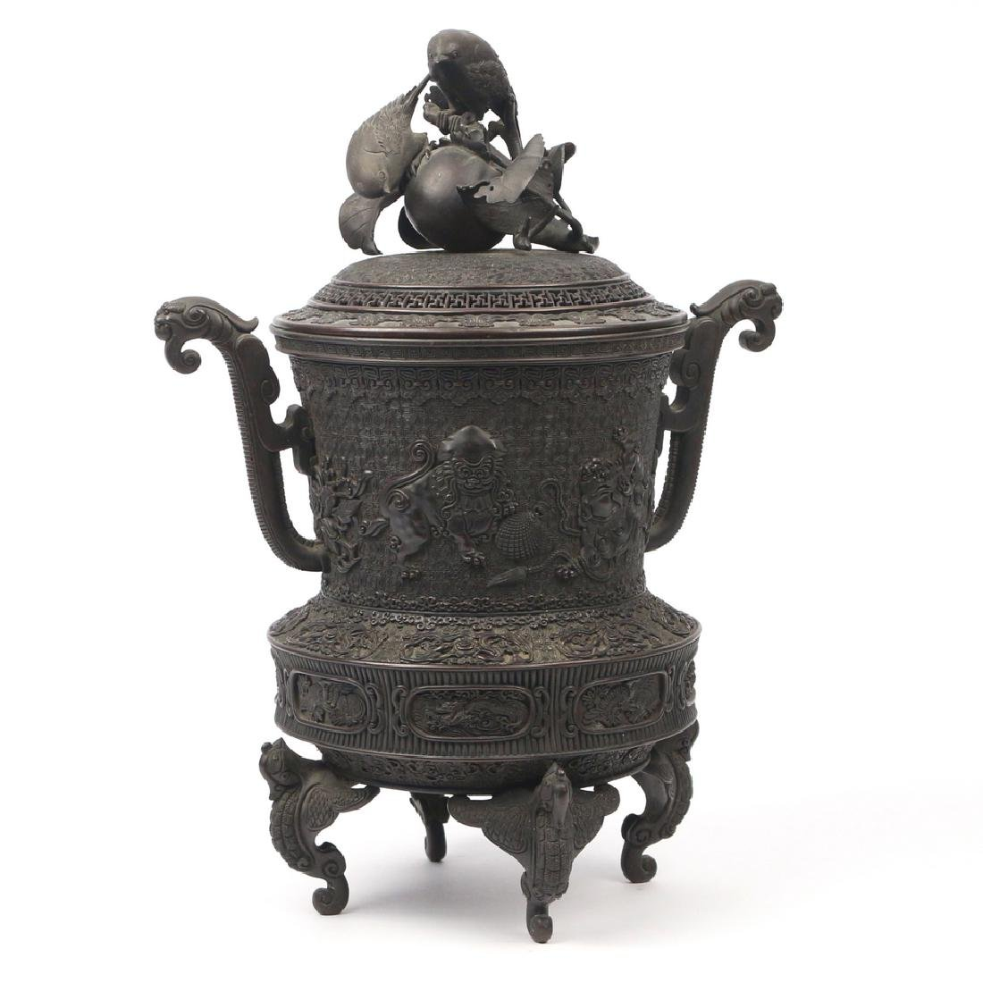 JAPANESE BRONZE TRIPOD CENSER & COVER