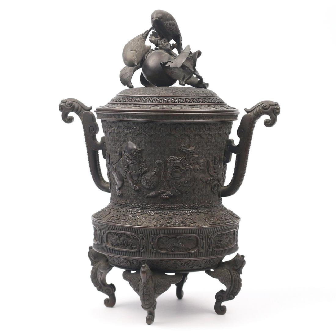JAPANESE BRONZE TRIPOD CENSER & COVER - 3
