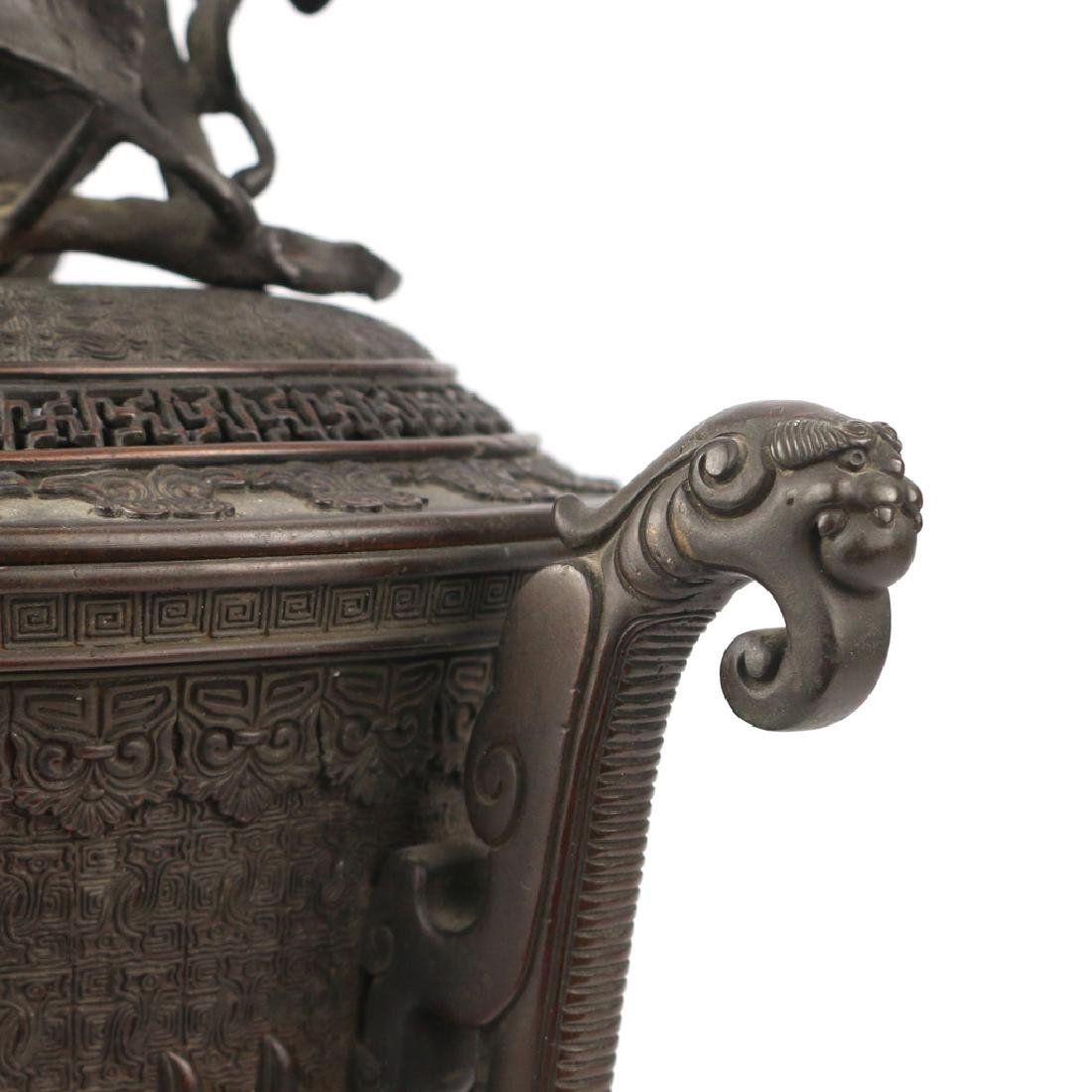 JAPANESE BRONZE TRIPOD CENSER & COVER - 5