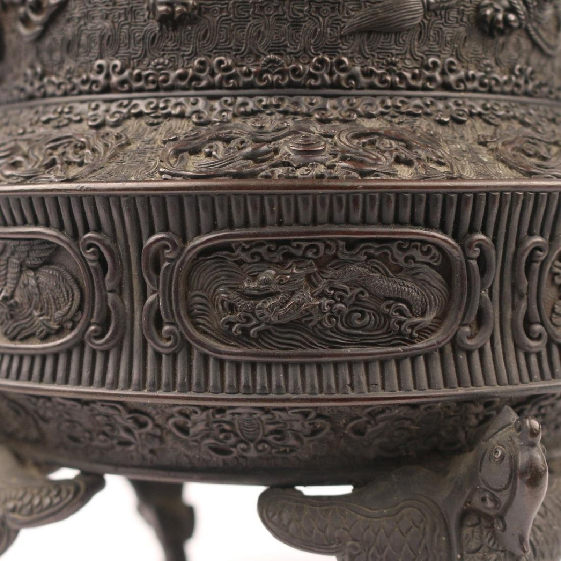 JAPANESE BRONZE TRIPOD CENSER & COVER - 8