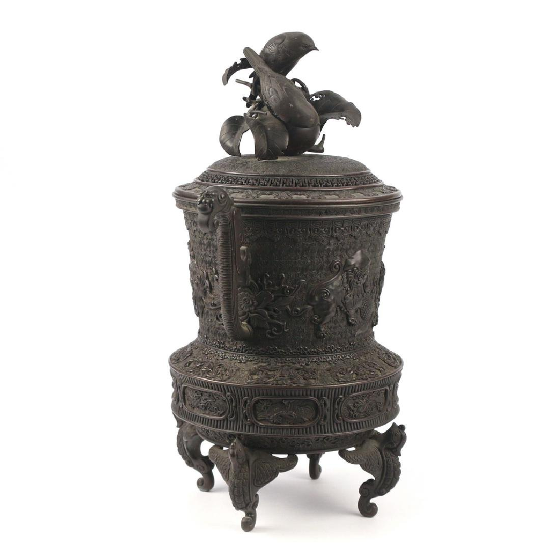 JAPANESE BRONZE TRIPOD CENSER & COVER - 9