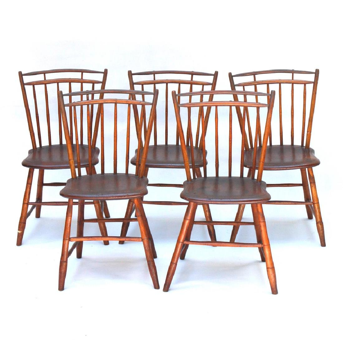 SET OF FIVE CAGE BACK WINDSOR SIDE CHAIRS
