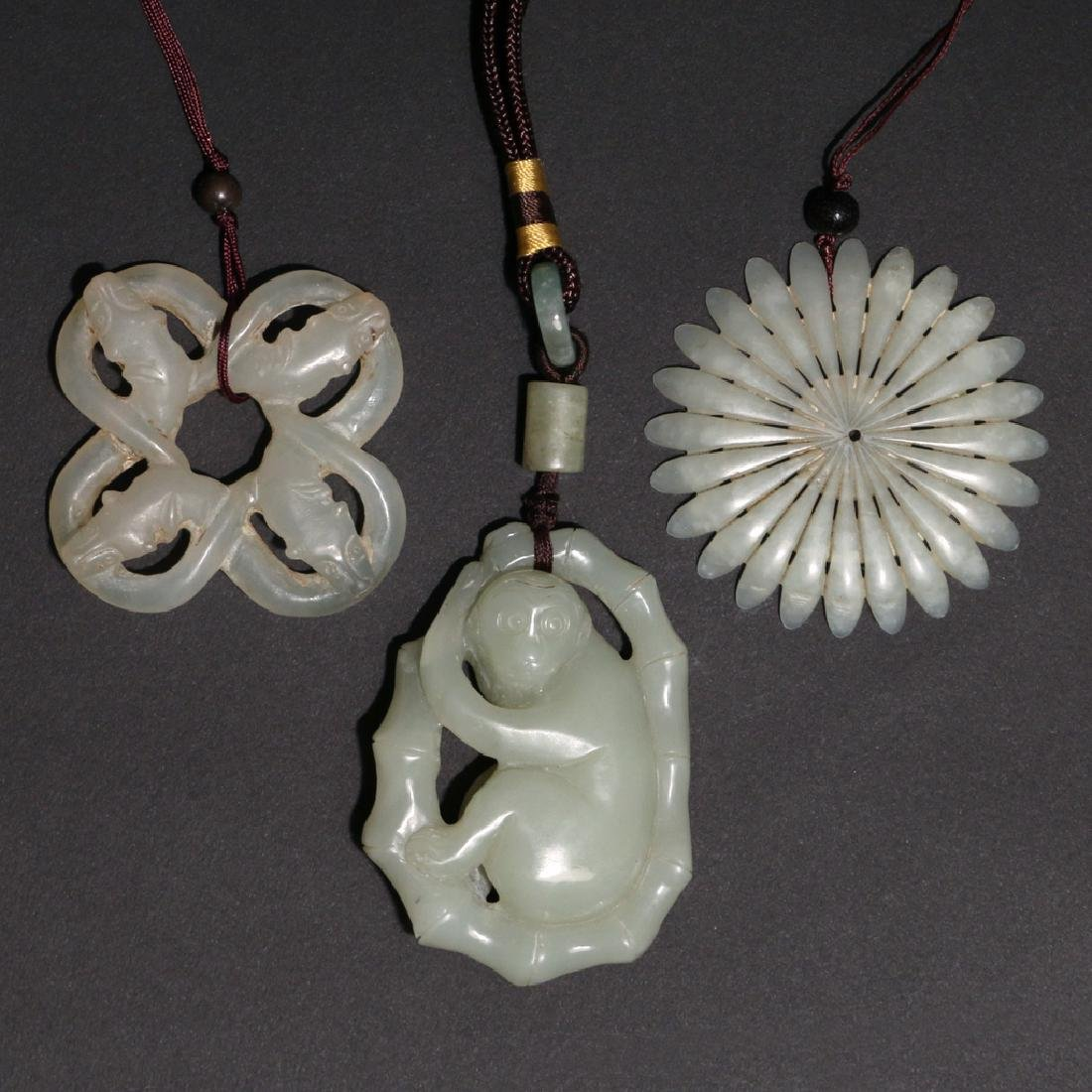 (3pc) CHINESE CARVED HARDSTONE PENDANTS