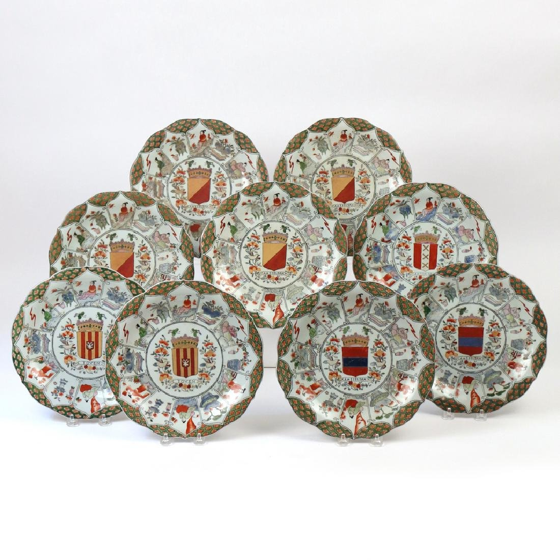 (9pc) UNUSUAL CHINESE EXPORT ARMORIAL PLATES