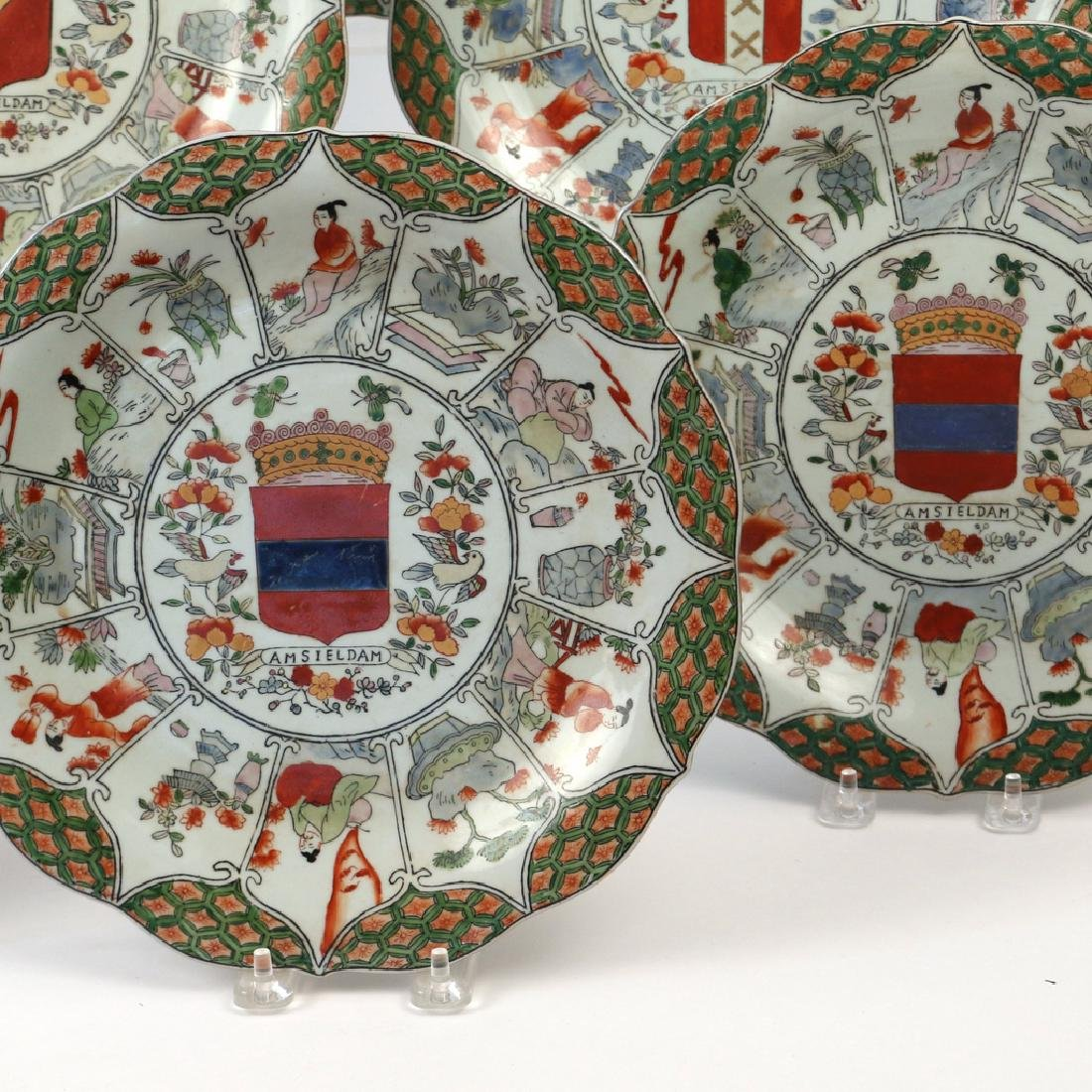 (9pc) UNUSUAL CHINESE EXPORT ARMORIAL PLATES - 3