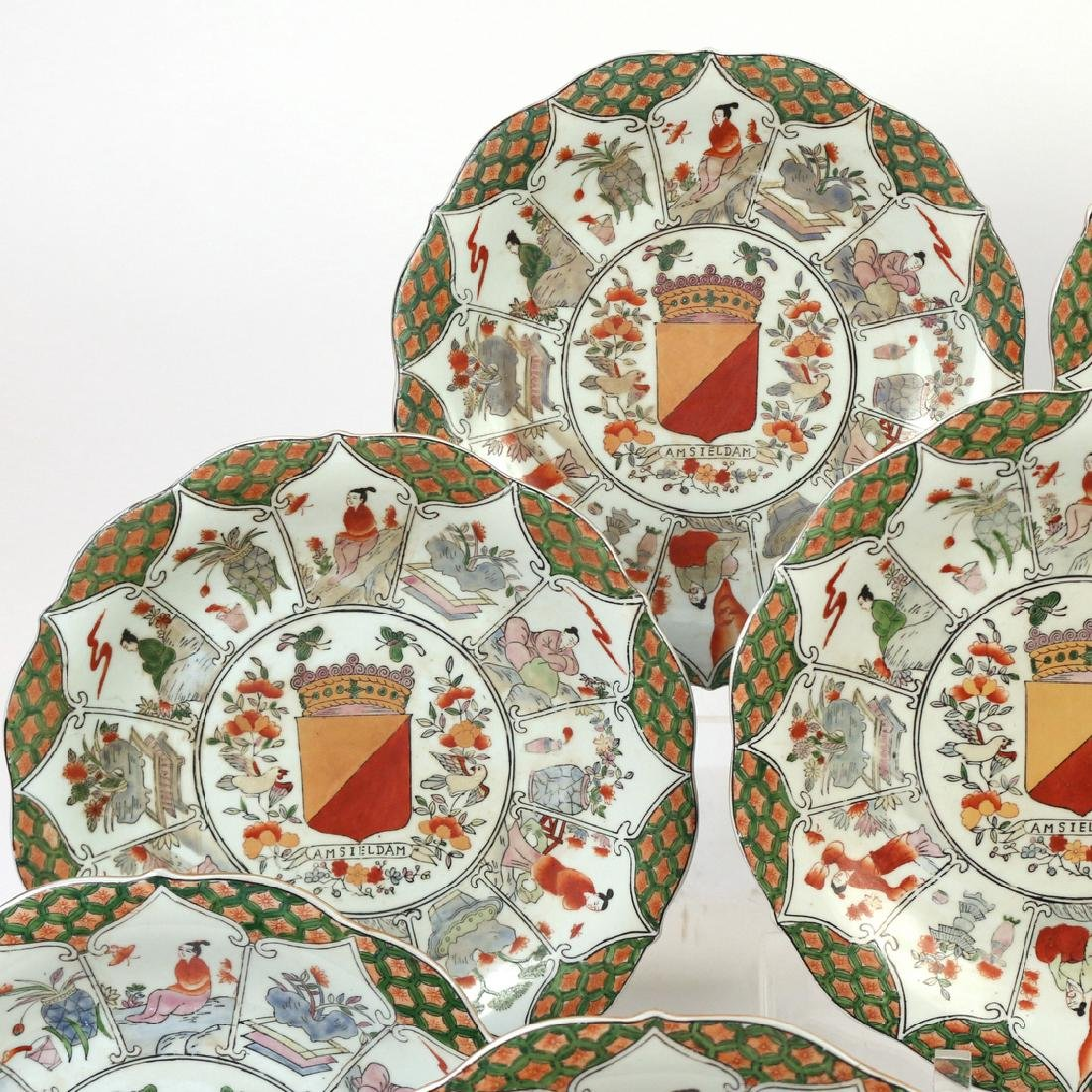 (9pc) UNUSUAL CHINESE EXPORT ARMORIAL PLATES - 4