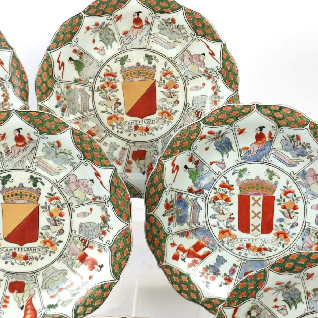 (9pc) UNUSUAL CHINESE EXPORT ARMORIAL PLATES - 5