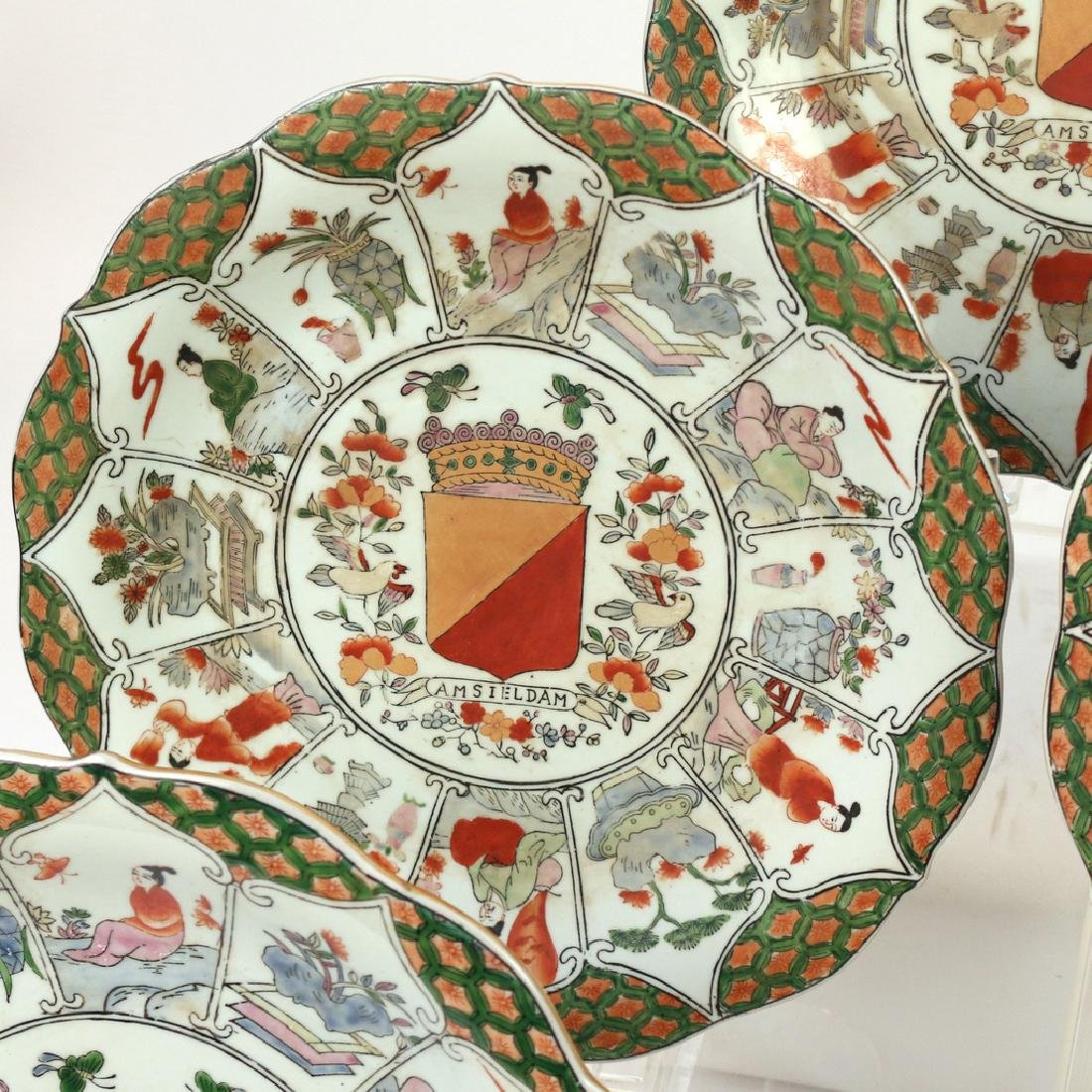 (9pc) UNUSUAL CHINESE EXPORT ARMORIAL PLATES - 8