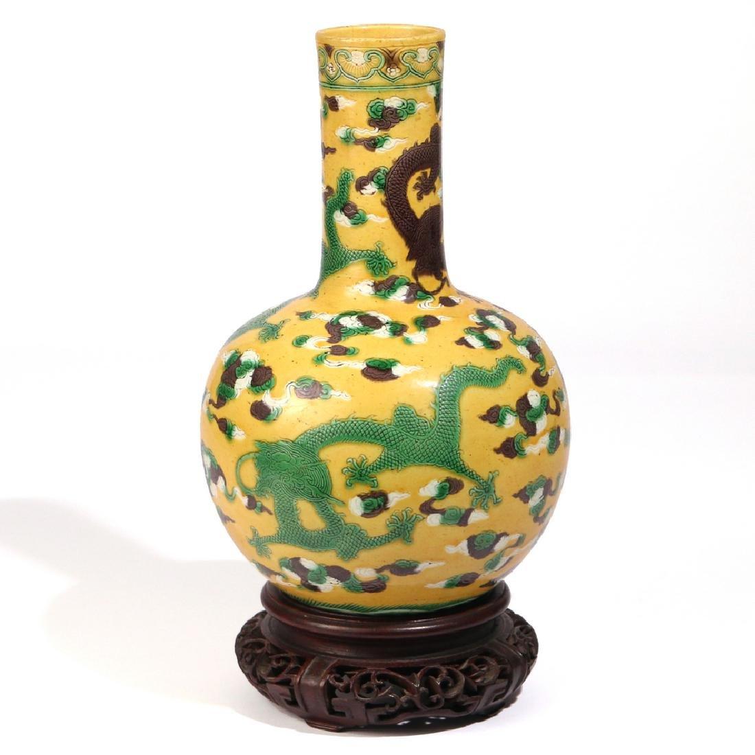 CHINESE YELLOW-GROUND BOTTLE VASE - 4