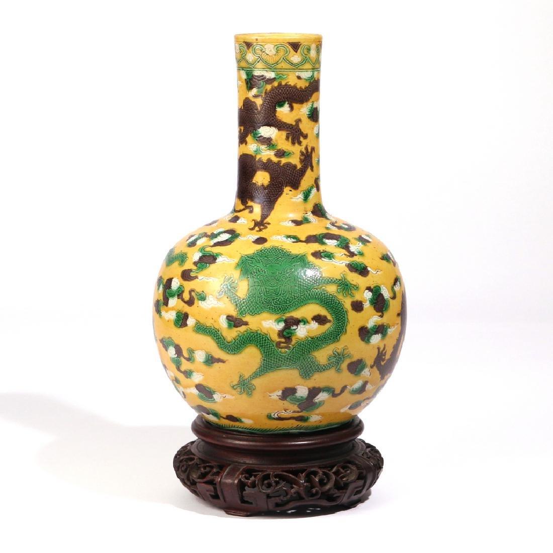 CHINESE YELLOW-GROUND BOTTLE VASE - 5