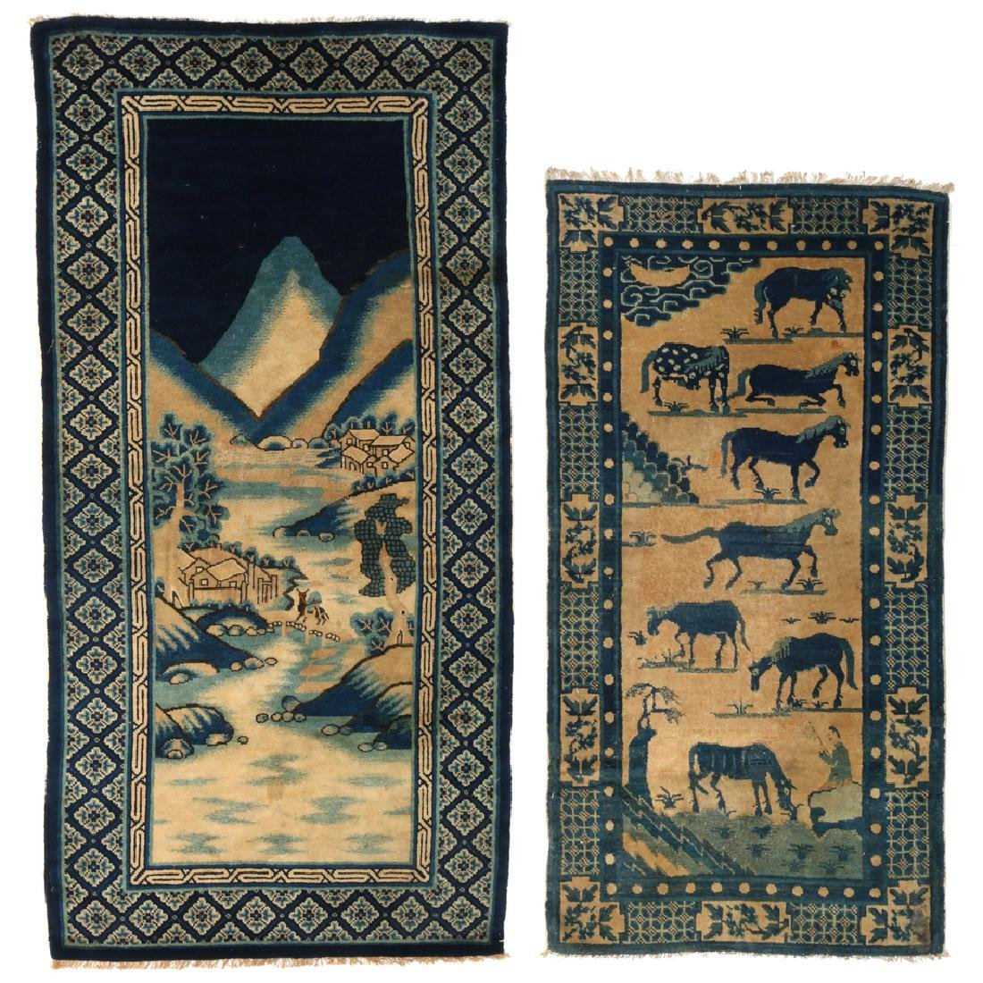 (2pc) ANTIQUE CHINESE PICTORIAL RUGS