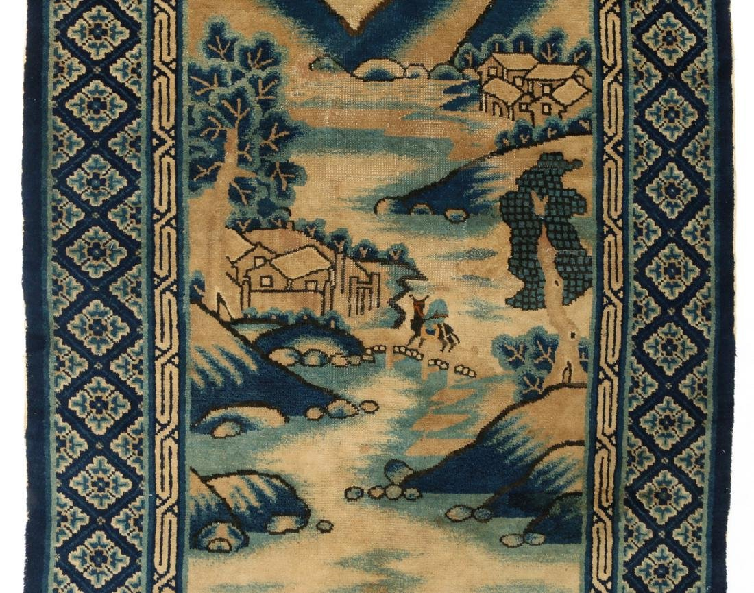 (2pc) ANTIQUE CHINESE PICTORIAL RUGS - 3