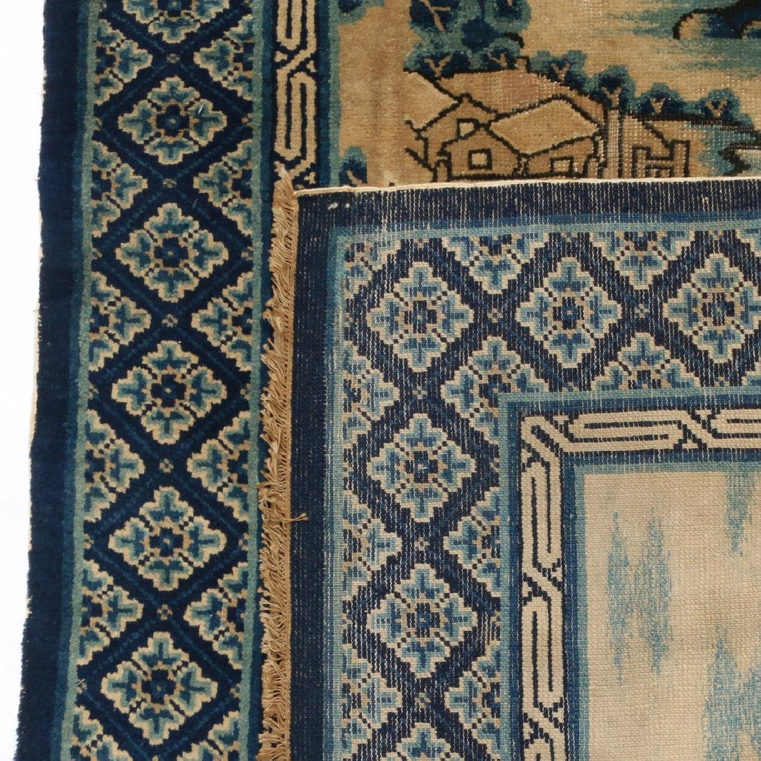 (2pc) ANTIQUE CHINESE PICTORIAL RUGS - 4