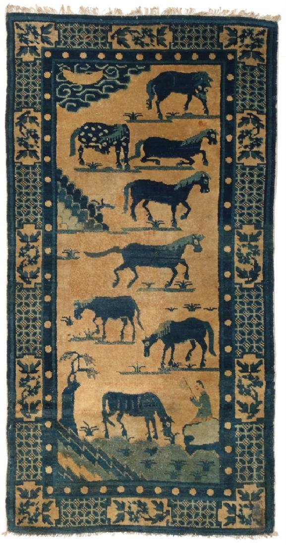 (2pc) ANTIQUE CHINESE PICTORIAL RUGS - 5