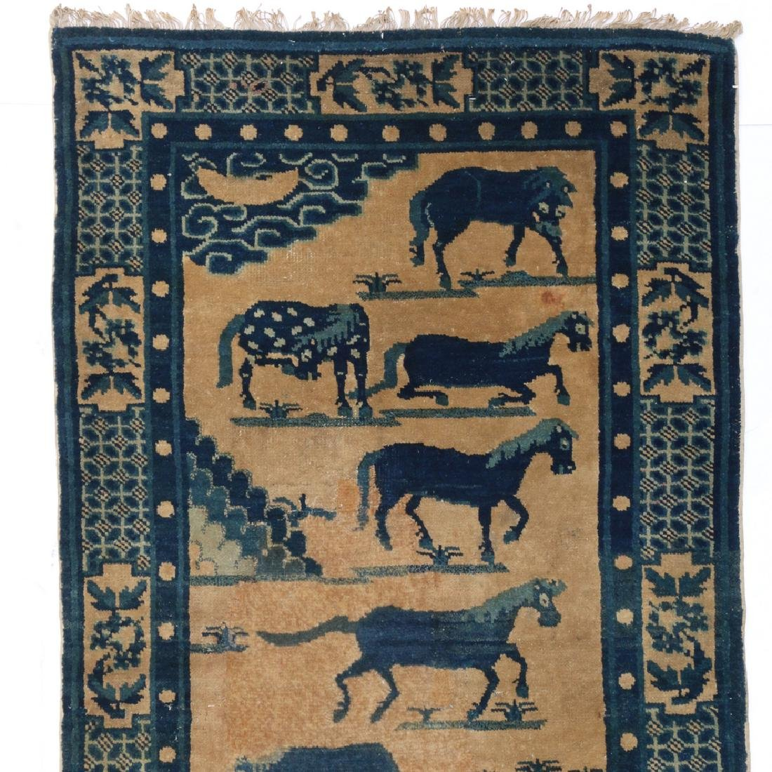 (2pc) ANTIQUE CHINESE PICTORIAL RUGS - 6