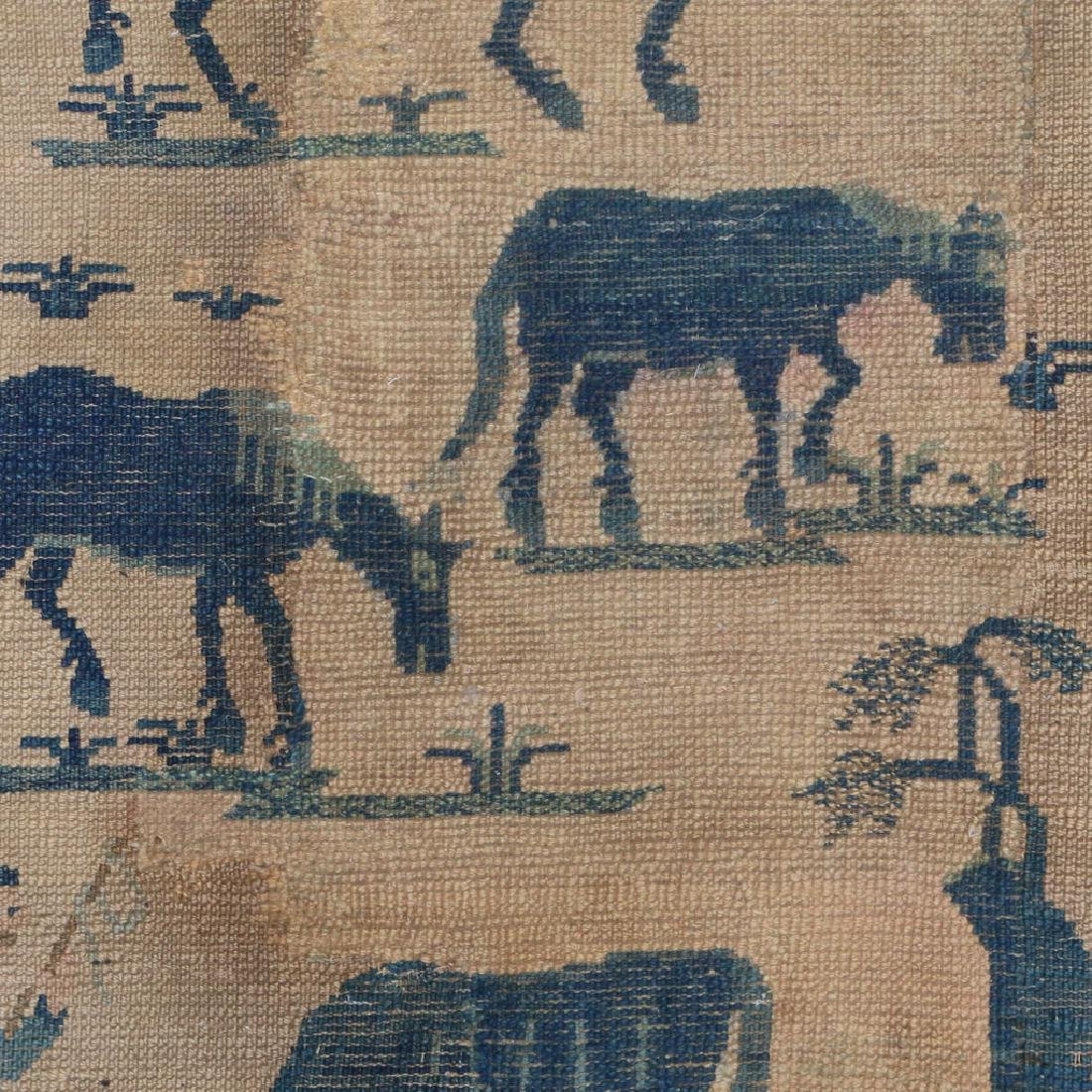 (2pc) ANTIQUE CHINESE PICTORIAL RUGS - 8