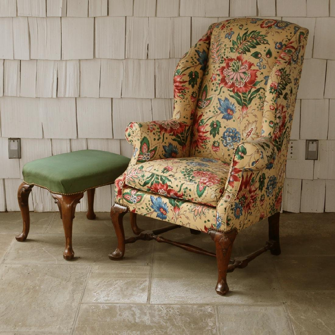 (2pc) 18THC. ENGLISH WING CHAIR & STOOL