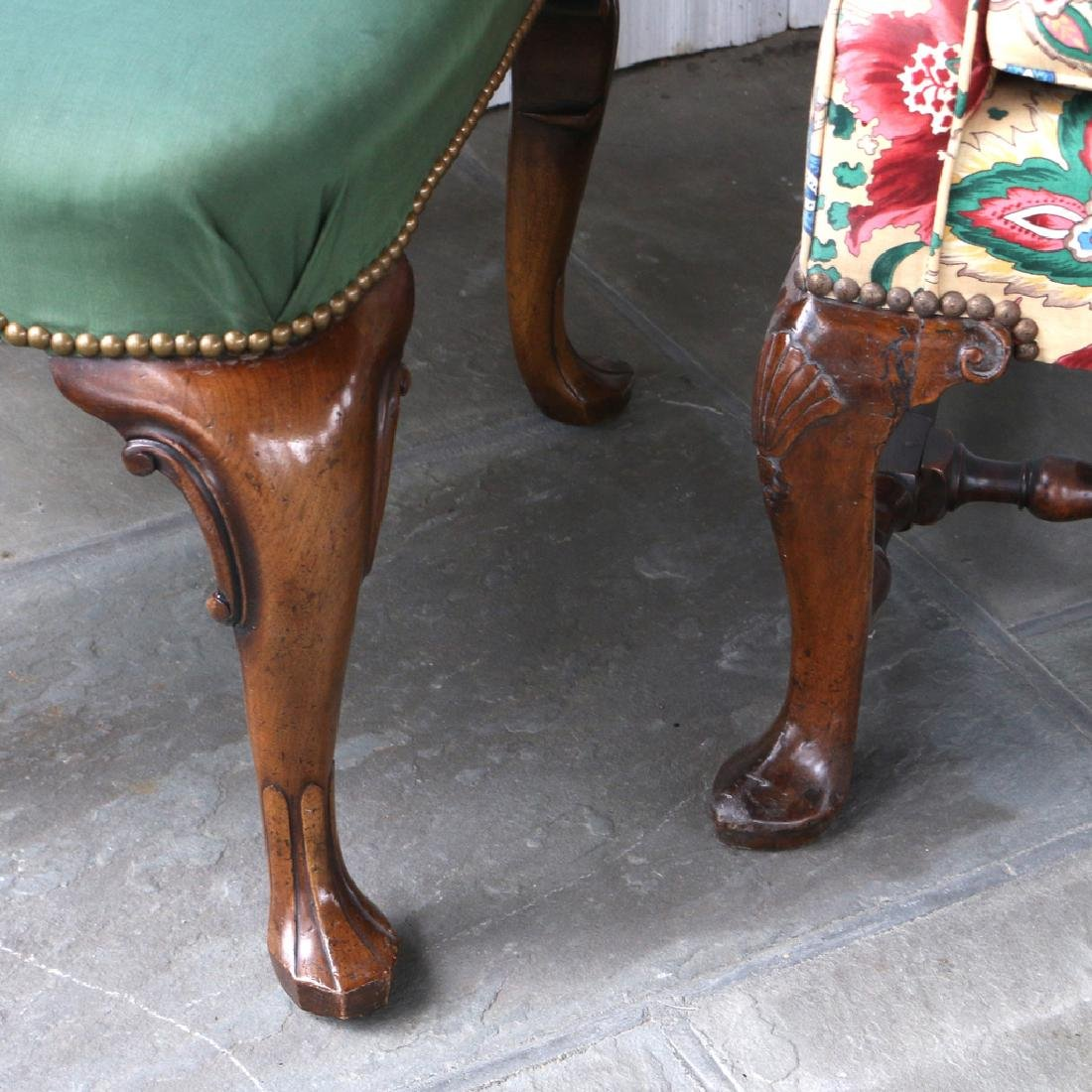 (2pc) 18THC. ENGLISH WING CHAIR & STOOL - 3