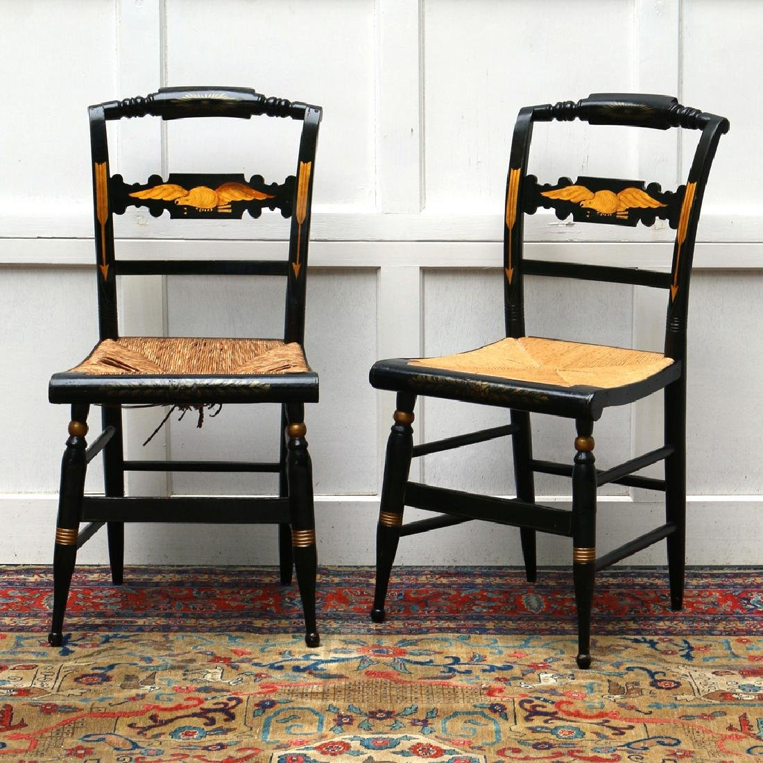 PAIR PAINT-DECORATED STENCILED CHAIRS