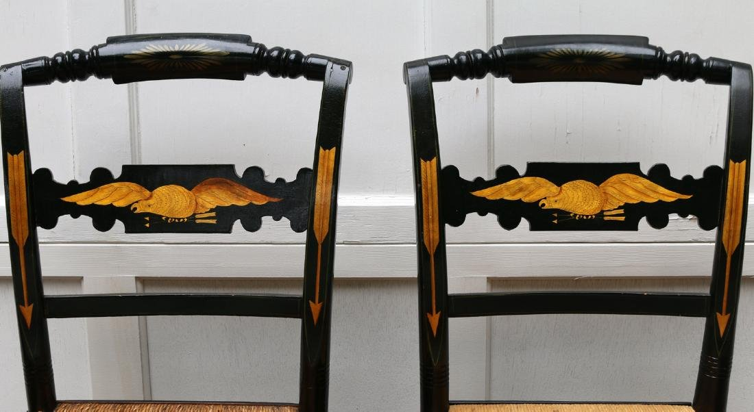 PAIR PAINT-DECORATED STENCILED CHAIRS - 2