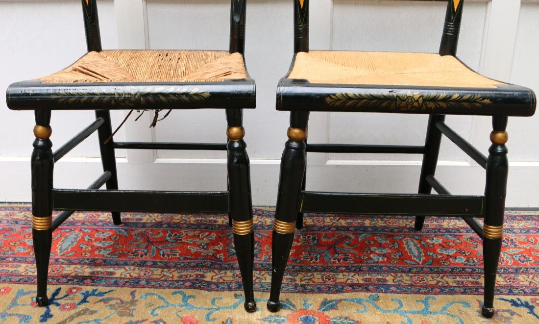 PAIR PAINT-DECORATED STENCILED CHAIRS - 3